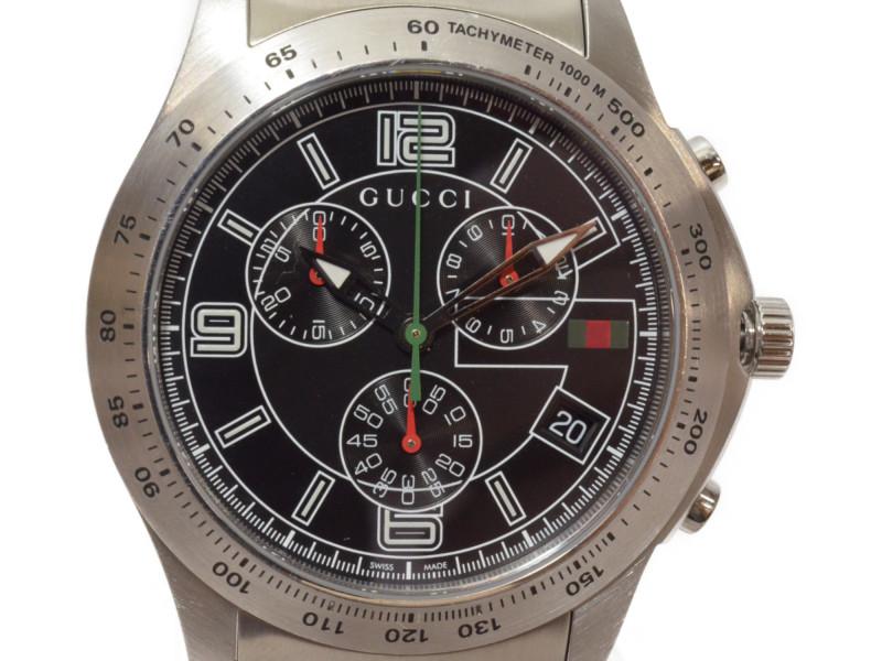 GUCCI グッチ Gタイムレス クロノグラフ クロノ SS 腕時計 YA126205/126.2 クオーツ タキメーター メンズ【中古】