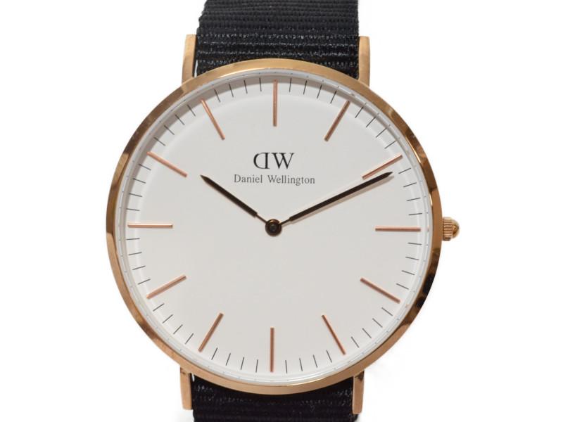 DANIEL WELLINGTON ダニエルウェリントン DW00100257 ClassicCornawall クラシックコーンウォール メンズ 腕時計 ホワイト ブラック ローズゴールド ナイロンベルト【中古】