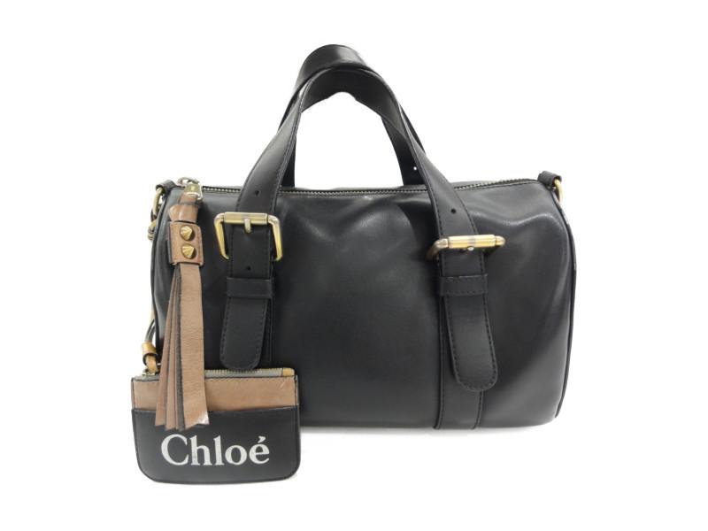 Chloe クロエ 3S0098 サムボストン ミニボストンバッグ ブラック レディース ハンドバッグ ロゴポーチ 【中古】