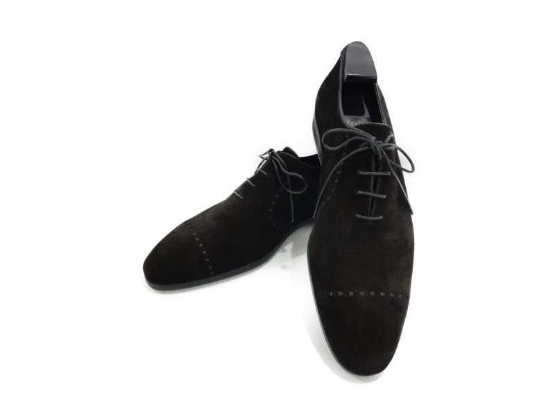 Berluti ベルルッティ スエード オックスフォード ダークブラウン 編み上げ 25.5cm 26.0cm メンズ 靴 ビジネス カジュアル 【中古】