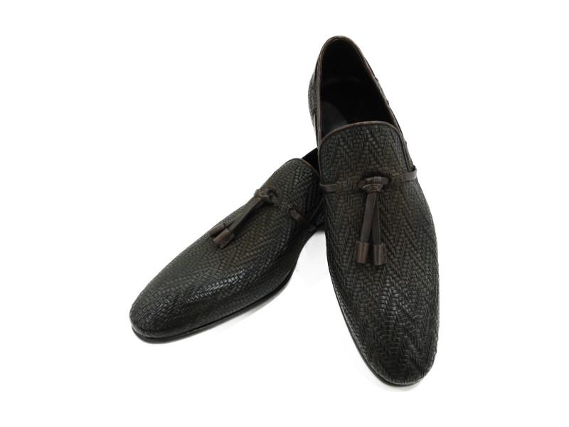 Berluti ベルルッティ マティス タッセルローファー ダークブラウン レザー 編み込み メンズ 靴 27.0cm 27.5cm【中古】