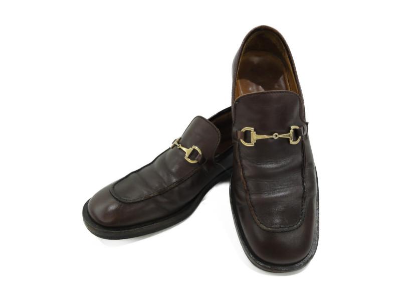 GUCCI 1101417 レザー ホースビットローファー ブラウン メンズ 靴 革靴 27.5cm 【中古】