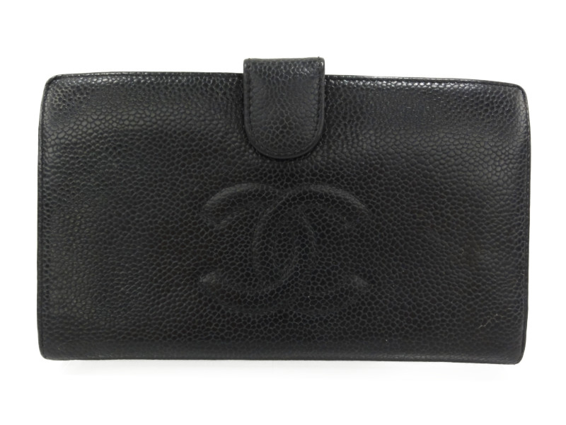 CHANEL A3498 がま口財布 二つ折り財布 キャビアスキン ブラック レディース メンズ 【中古】