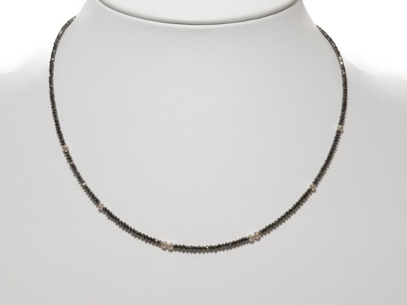 K18WG ブラックダイヤ ネックレス 10.0ct ブラック×シルバー 18金 ホワイトゴールド ブラックダイヤモンド 【中古】