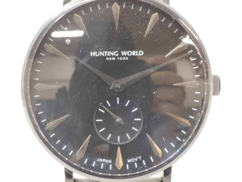 HUNTING WORLD ハンティングワールド HW-950 メンズ 腕時計 クォーツ 迷彩柄 革ベルト 【中古】