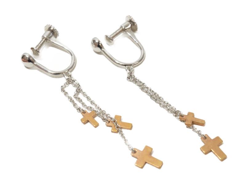 K18WG ホワイトゴールド イヤリング クロス 十字架 シルバー/ブラック レディース 【中古】