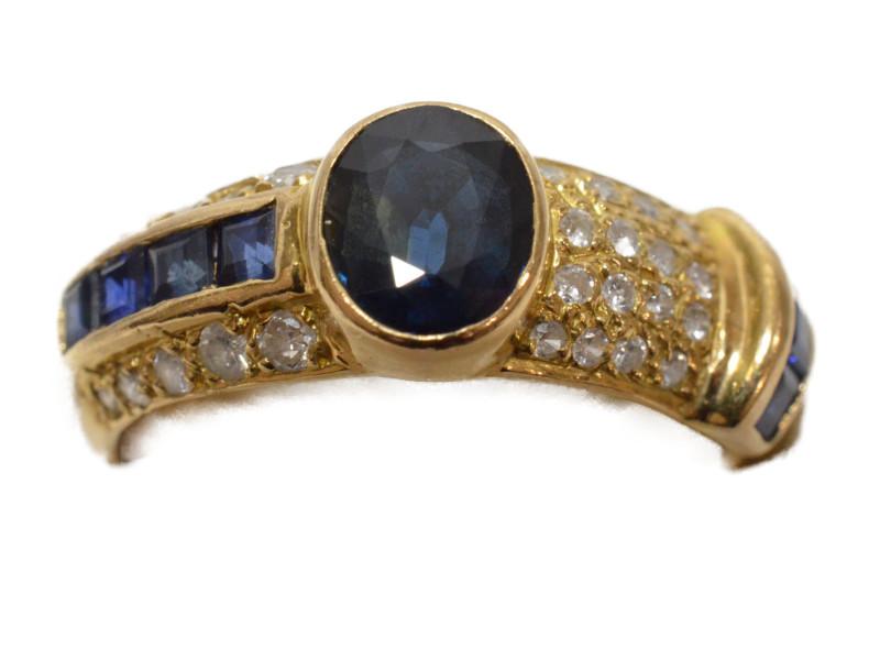 K18 18金 ゴールド 石付きリング 指輪 サファイア/ダイヤモンド 4月、9月誕生石 ゴールド/シルバー/ブルー 8号 レディース【中古】