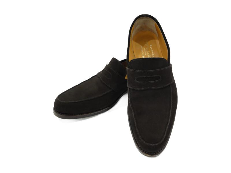 UNITED ARROWS コインローファー スエード ブラウン メンズ 靴 ビジネス カジュアル 【中古】