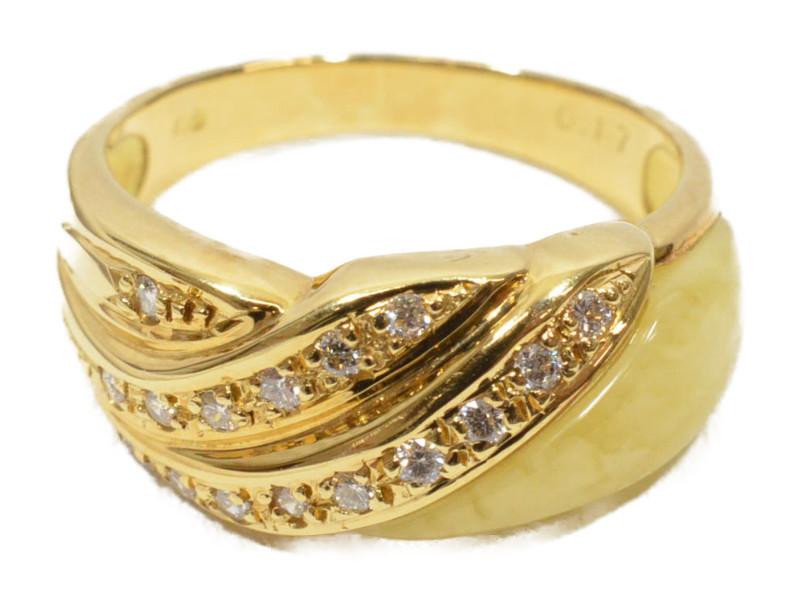 K18 18金 ダイヤモンドつきリング 指輪 メレダイヤ ゴールド/イエロー/シルバー 9号 4月誕生石 レディース【中古】