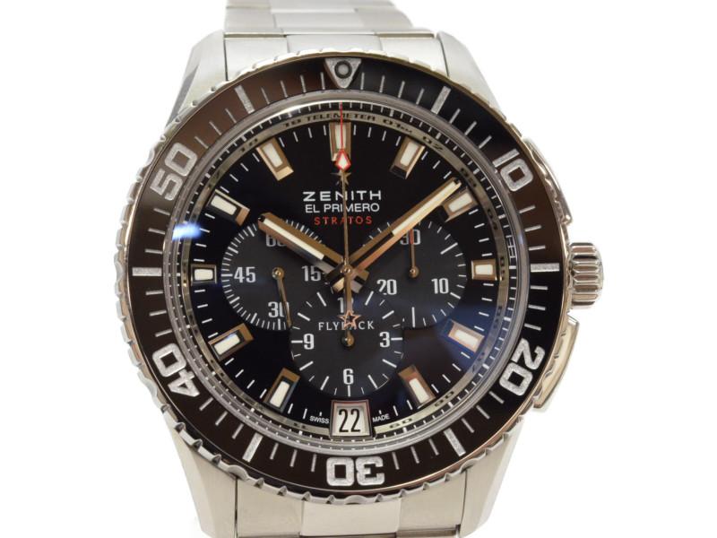 【ZENITH】 ゼニス ストラトス フライバック クロノグラフ 03.2060.405/21.M2060 自動巻き デイト SS ブラック メンズ 腕時計 【エルプリメロ搭載】【中古】