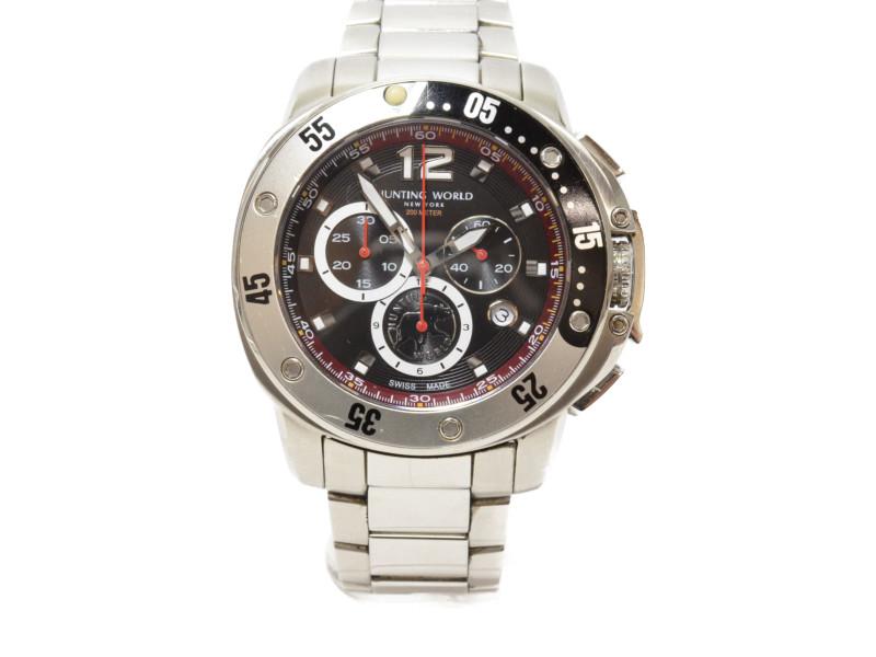 HUNTING WORLD ハンティングワールド HW-908 クオーツ クロノグラフ メンズ 腕時計 【中古】