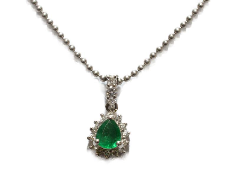 Pt850 プラチナ ダイヤモンド×緑石 石付ネックレス ペンダント 40cm グリーン/シルバー レディース【中古】