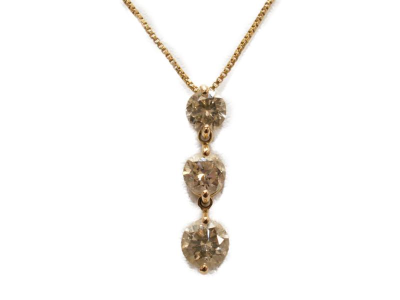 K18PG ピンクゴールド ダイヤモンド3連ネックレス ペンダント D1.00ct 45cm 鑑別書付き レディース【中古】