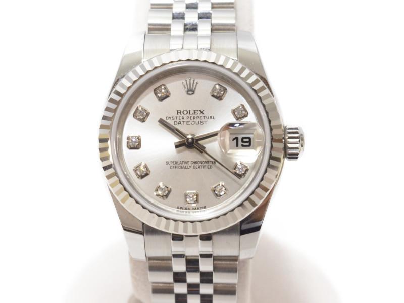 【ROLEX】 ロレックス 179174G ランダム番 デイトジャスト SSxWG 10P ダイヤ 自動巻 レディース 腕時計 【中古】