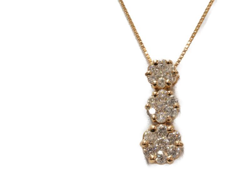 K18PG ピンクゴールド 3連ダイヤモンド ネックレス ペンダント D1.00ct 50cm レディース【中古】