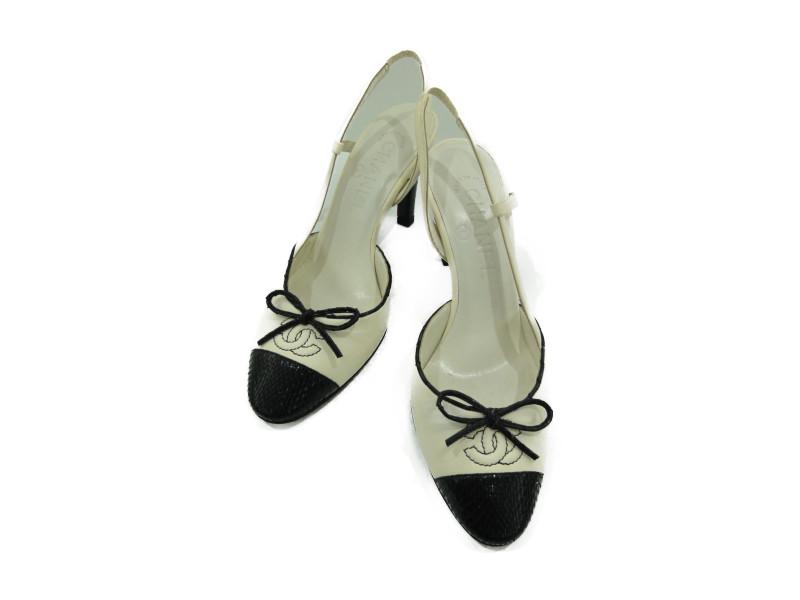 CHANEL シャネル レザーパンプス 靴 ココマーク リボン 35C レザー レディース【中古】