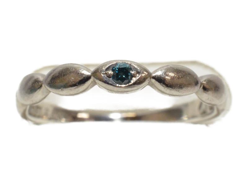 Pt900 プラチナ 石付きリング 指輪 0.02ct ライトブルー/シルバー 11号 レディース【中古】