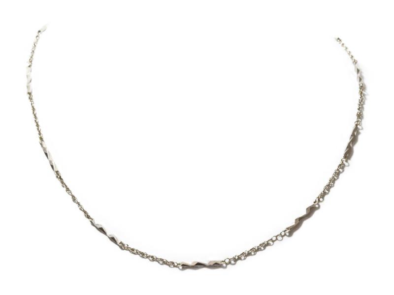 K14WG ホワイトゴールド ネックレス チェーン シルバー 40cm レディース 【中古】