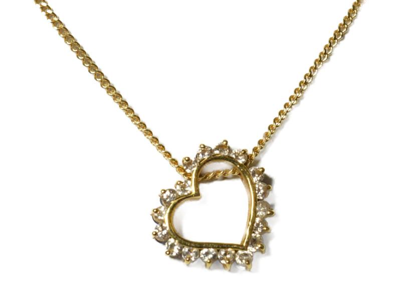 K18 ハートモチーフ リバーシブル ネックレス ダイヤモンド 0.26ct ゴールド 18金 40cm 2WAY レディース 【中古】