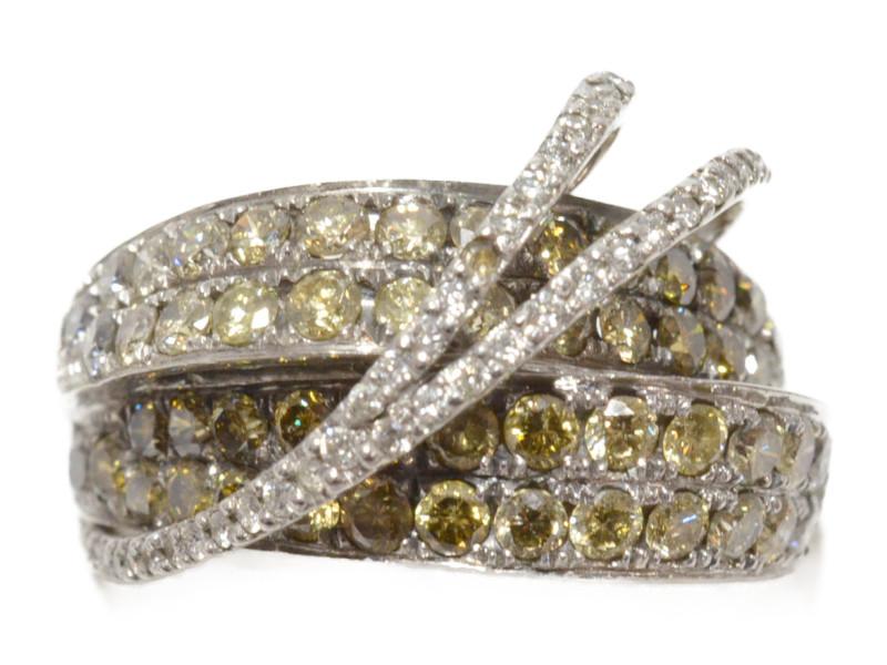 K18WG ダイヤ付き デザインリング ホワイトゴールド 18金 ダイヤモンド 2.50ct メレダイヤ 19号 レディース 【中古】