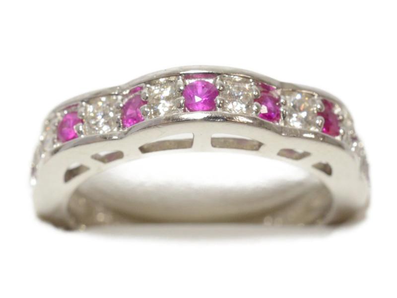 Pt900 ダイヤ付き デザインリング 赤石 指輪 プラチナ 0.25ct レディース 【中古】