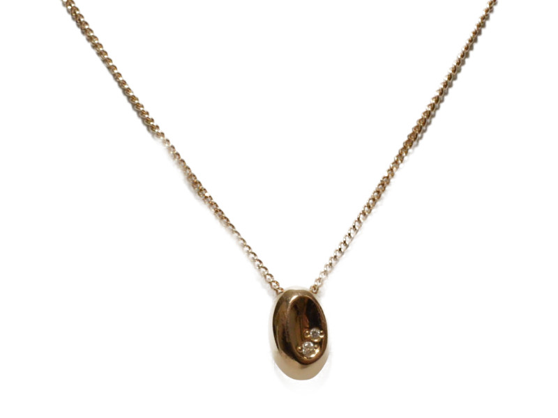 K18 石付き ビーンモチーフ ネックレス 18金 ゴールド レディース 【中古】
