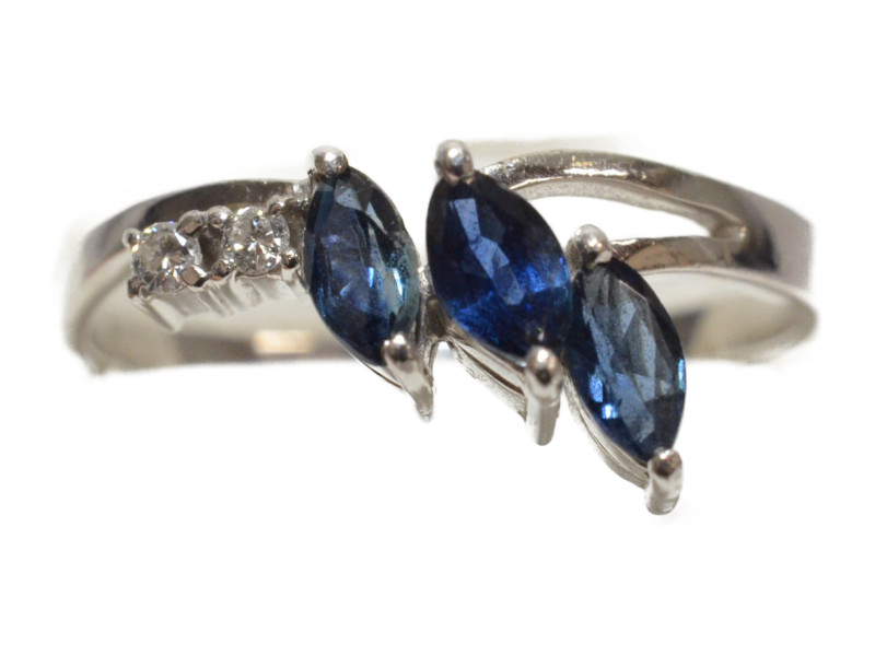 Pt900 プラチナ 青石×ダイヤモンド 石付きリング 指輪 0.64ct D0.04ct ブルー/シルバー 12号 レディース【中古】