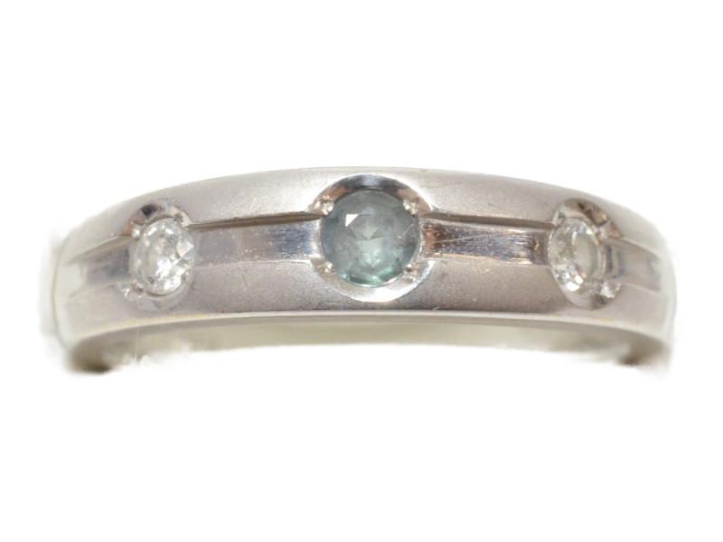 K18WG ダイヤ付き デザインリング 指輪 ホワイトゴールド 18金 青石 ダイヤモンド 8.5号 レディース 【中古】