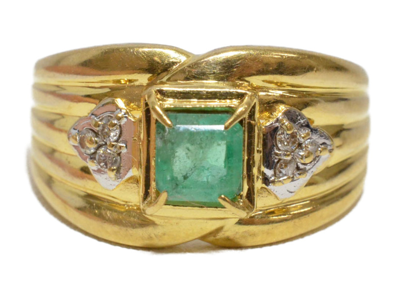 K18 18金 緑石×ダイヤモンド 石付きリング 指輪 0.5ct D0.06ct  ゴールド/シルバー/グリーン 12号 レディース【中古】