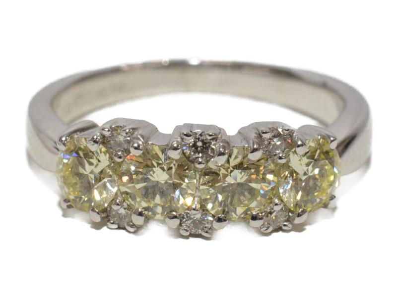 K18WG 18金 750 ホワイトゴールド 石付きリング カラーダイヤモンド 1.025ct 0.10ct イエロー系/シルバー 11号 レディース【中古】