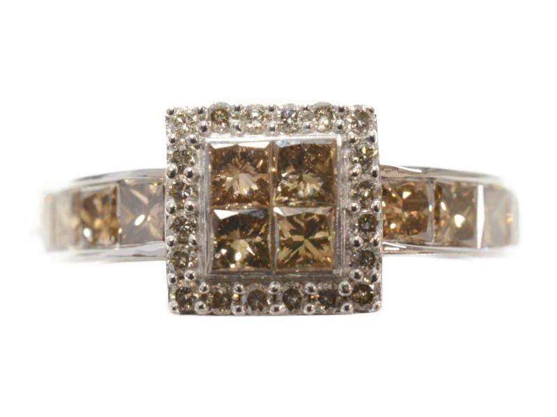 K18WG 色石 デザインリング 指輪 ホワイトゴールド 18金 ブラウン シルバー スクエア 10号 レディース 【中古】
