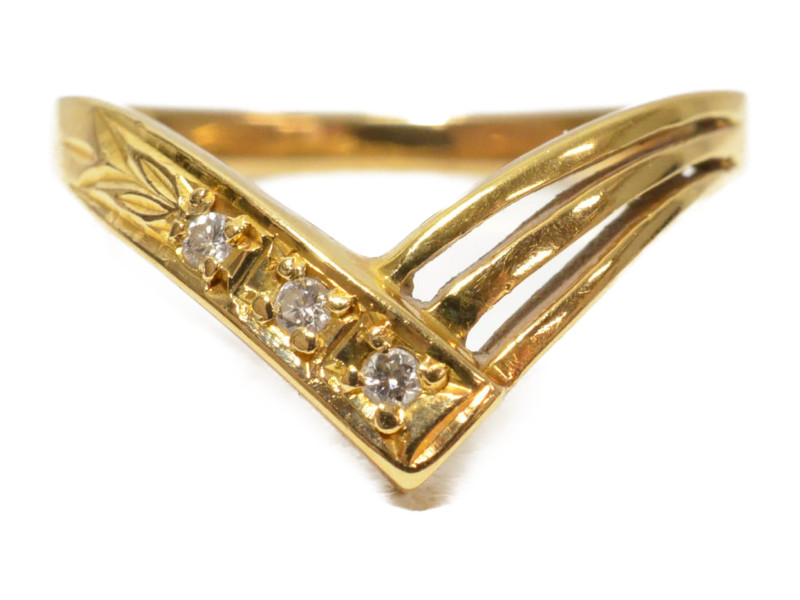 K18 18金 メレダイヤ 石付きリング 指輪 ゴールド 11号 レディース【中古】