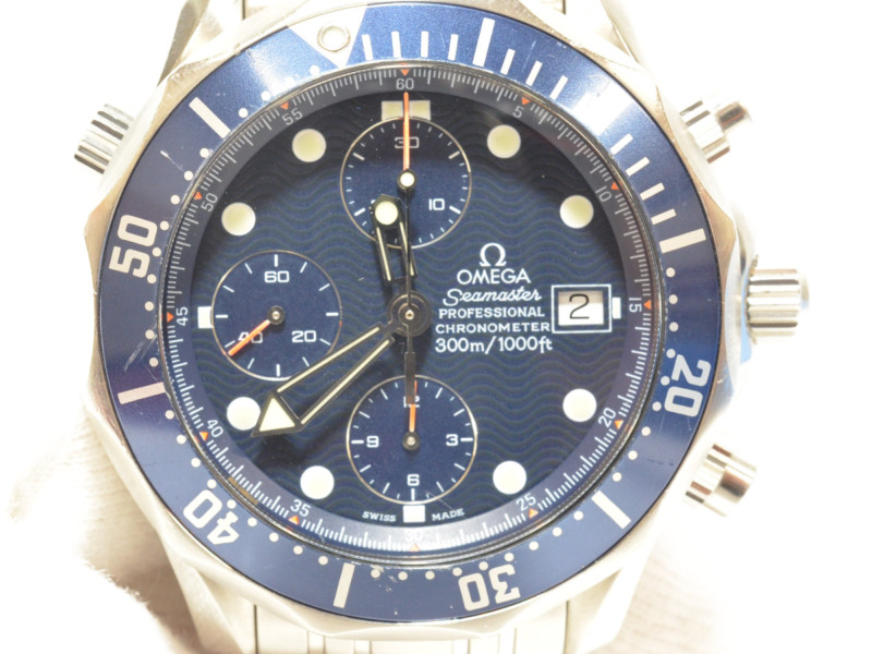 OMEGA オメガ 2599.80 シーマスター300 クロノグラフ ネイビー ステンレス デイト表示 メンズ 腕時計 【中古】
