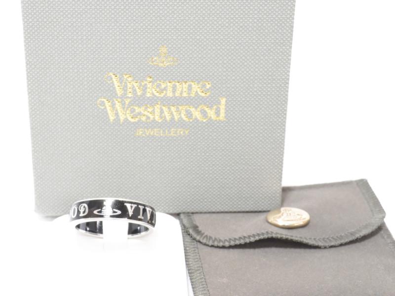 Vivienne Westwood ヴィヴィアンウエストウッド コンジットストリートリング サイズXL 約18号 ブラック×シルバー リング 指輪 ユニセックス 【中古】