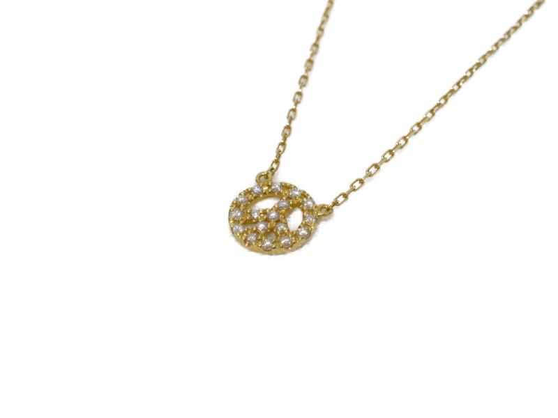 AHKAH アーカーブラン K18YG イエローゴールド ピースマーク ネックレス ペンダント 40cm レディース【中古】