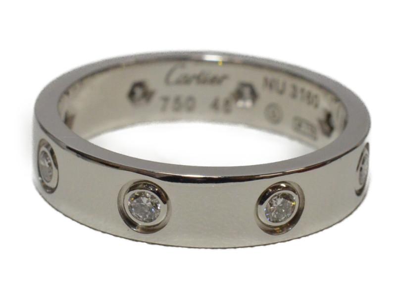 Cartier カルティエ ミニラブリング 指輪 K18WG 750 フルダイヤ エタニティリング 48 8号 ホワイトゴールド レディース【中古】