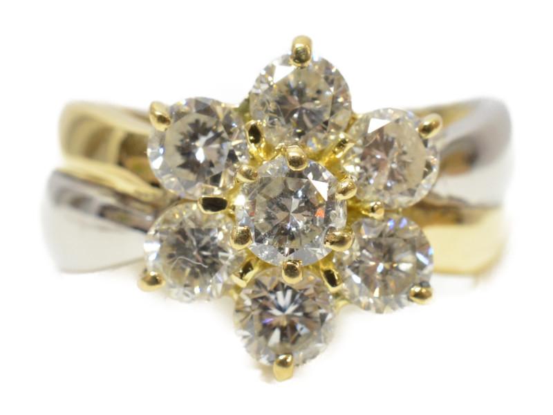 K18/Pt850 ダイヤ付き フラワーモチーフリング ゴールド 18金 プラチナ ダイヤモンド 花 指輪 【中古】