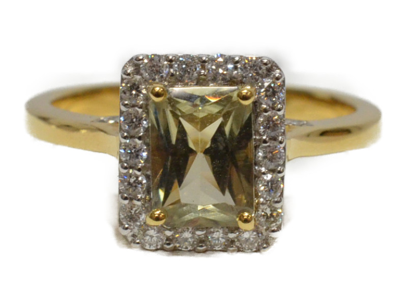 18K ゴールド 天然ダイアスポア/ダイヤモンド 石付きリング 指輪 レディース 12号 4月誕生石 ソーティングつき【中古】