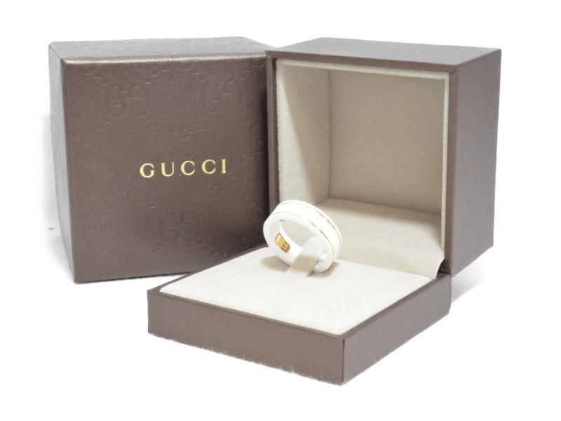 GUCCI グッチ 325964 アイコンリング ホワイトジルコニア/イエローゴールド 22サイズ メンズ 指輪 【中古】
