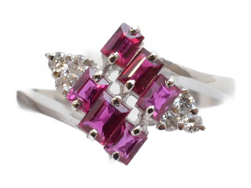 Pt900 プラチナリング ダイヤモンド×ルビー 指輪 ファッションリング 【中古】