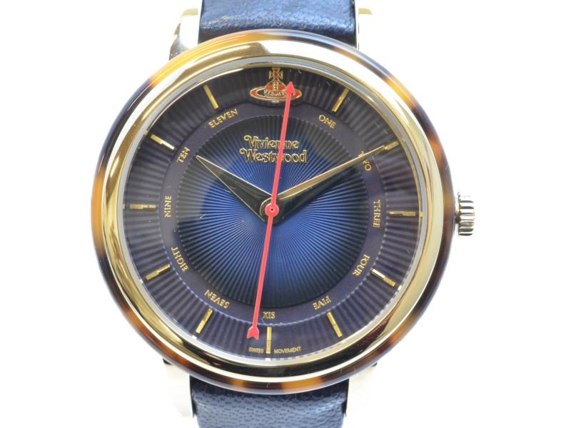 Vivienne Westwood ヴィヴィアンウエストウッド クオーツ時計 VV158BLBL ネイビー/ゴールド/べっ甲 腕時計 レディース メンズ 男女兼用 【中古】