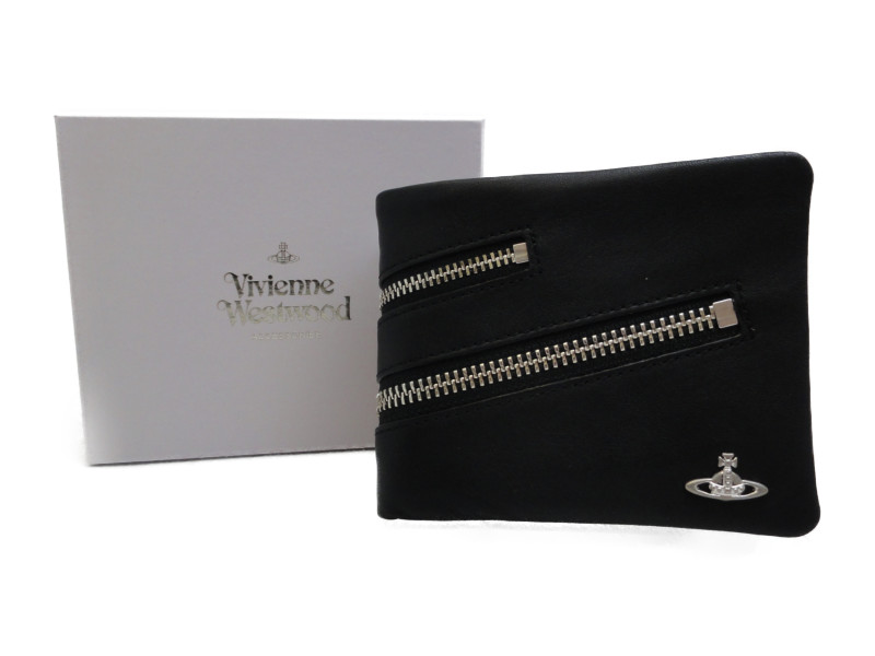 Vivienne Westwood ヴィヴィアンウエストウッド ジップ付き 2つ折り財布 ブラック シルバー メンズ財布 レディース財布 牛革 【中古】