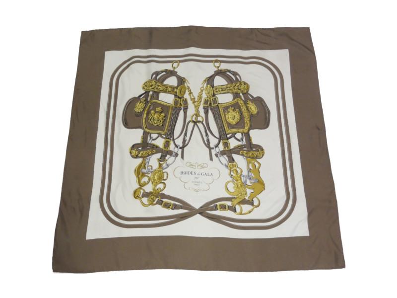 HERMES エルメス カレ90 BRIDES de GALA ブラウン/アイボリー/ゴールド シルク スカーフ 大判 レディース 【中古】