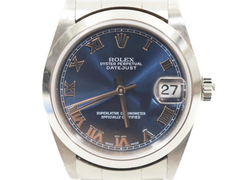 ROLEX ロレックス 78240 デイトジャスト 青文字盤 ブルーローマン K番 レディース 腕時計【中古】