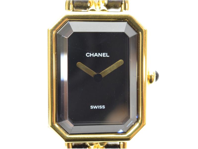5c3a37f94d CHANEL シャネル H0001 プルミエール L GPチェーン ゴールド/ブラック レディース 腕時計 クオーツ時計 【中古