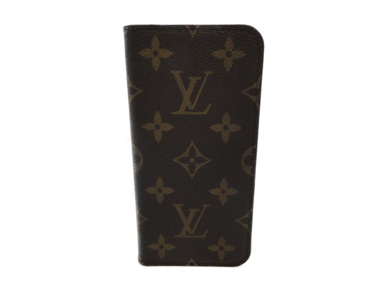 LOUIS VUITTON ルイヴィトン iPhone X&XSフォリオ M63444 スマホケース 手帳型 モノグラム×ローズ 【中古】