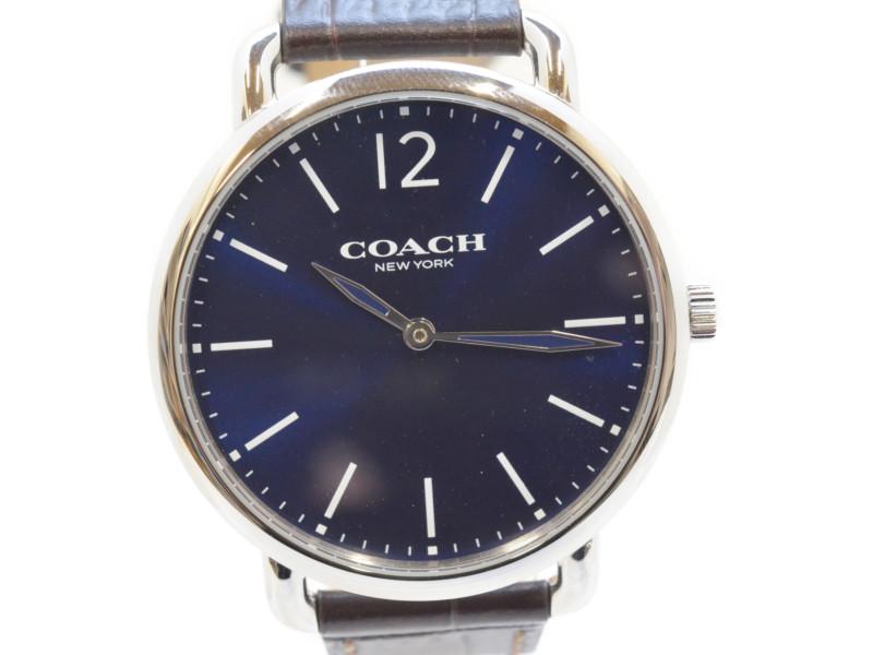 COACH コーチ デランシースリムウォッチ W1568 腕時計 ネイビー×ダークブラウン メンズ レディース 【中古】