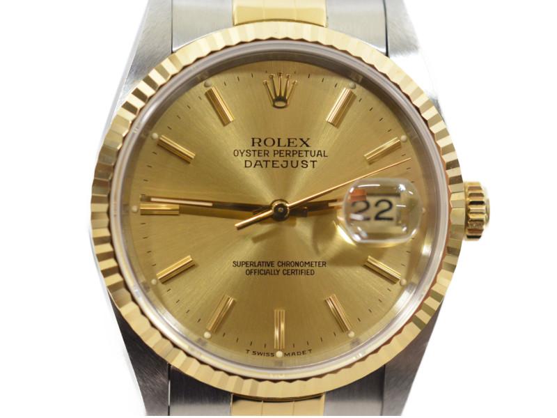 ROLEX ロレックス 16233 デイトジャスト S番 1993年頃製造 ゴールド文字盤 コンビ メンズ 腕時計 自動巻き 付属品あり 【中古】