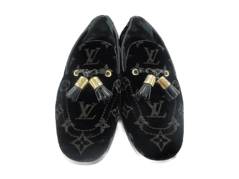LOUIS VUITTON ルイヴィトン タッセルローファー ベロア モノグラム ブラック サイズ38 靴 レディース 【中古】