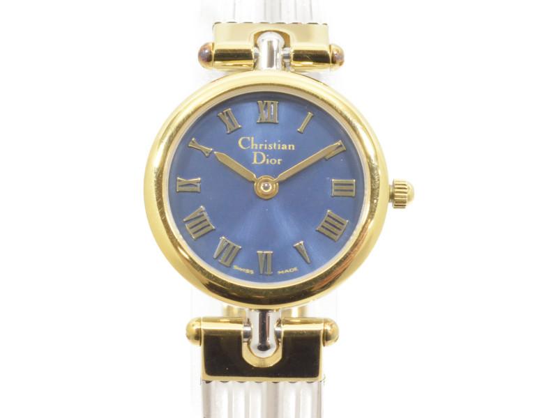 Christian Dior クリスチャンディオール クォーツ時計 ネイビー×シルバー ローマ文字盤 ラウンドクォーツ時計 レディース 【中古】